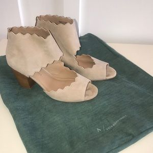 Anthropologie Scalloped ZIP Open Toe Shoes